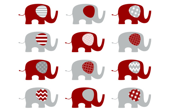 Red And Grey Elephants Set Illustrations On Creative Market