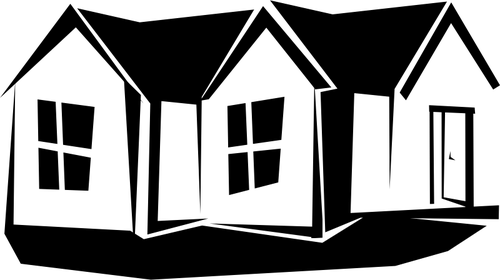 Vector Of Silhouette Of A Familiy House