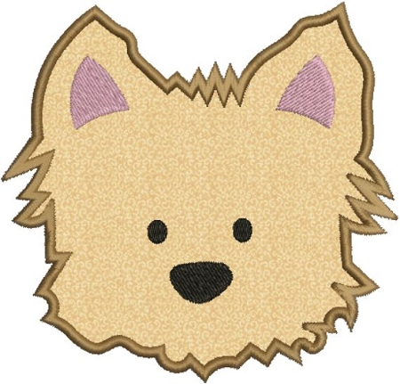 Yorkie Puppy Dog Face Applique Machine Embroidery Designs