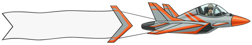 Airplane with Banner Clipart