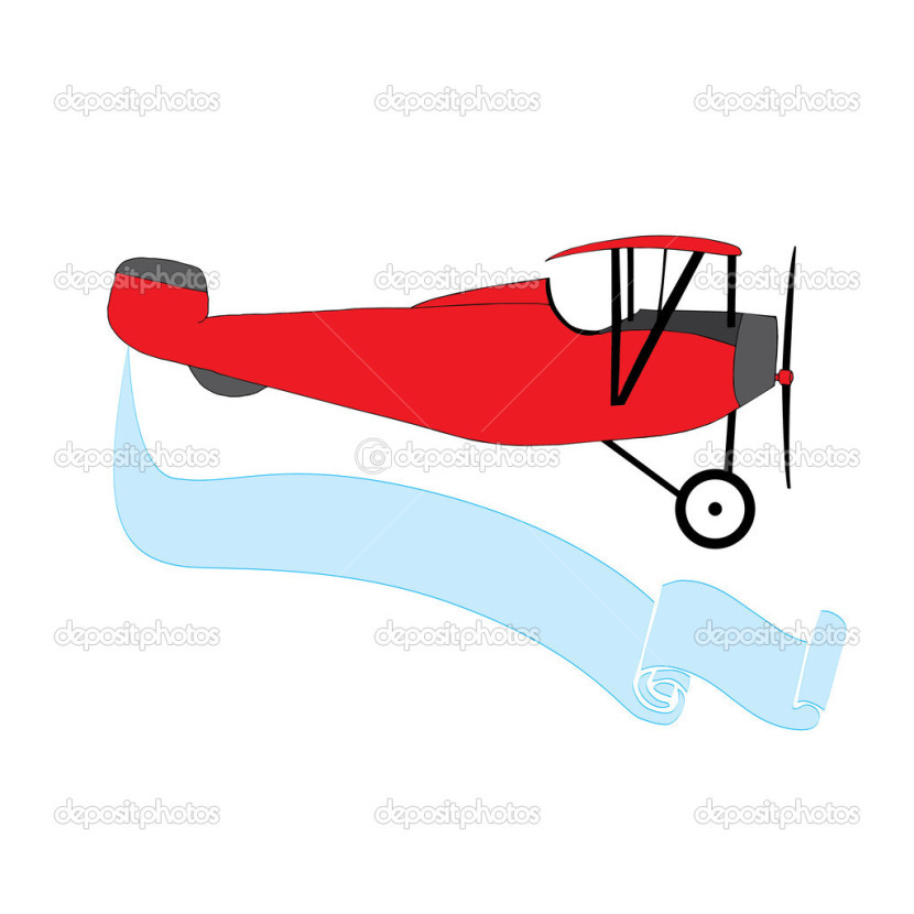 Airplane With Banner Vector Free