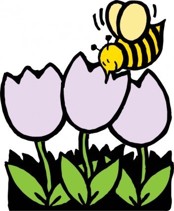 Bee And Flowers Free Vector In Open Office Drawing