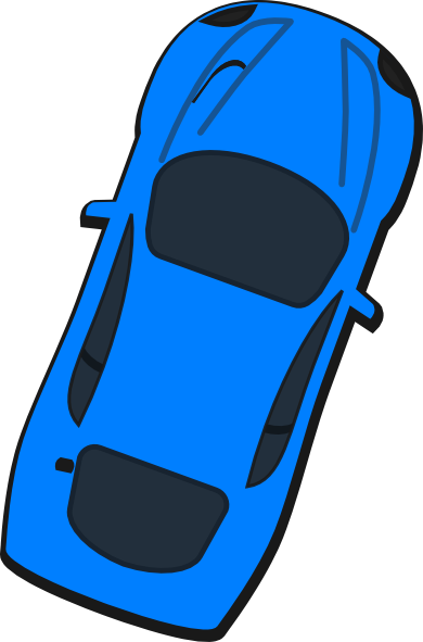 Blue Car Top View At Vector