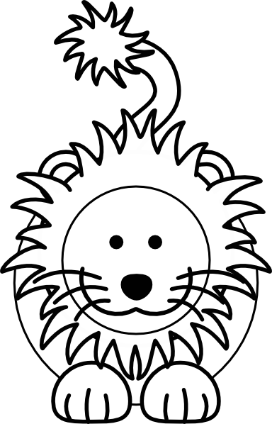 Cartoon Lion Bw Vector Online Free