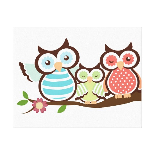 Cute Owl Family Canvas Print Zazzle