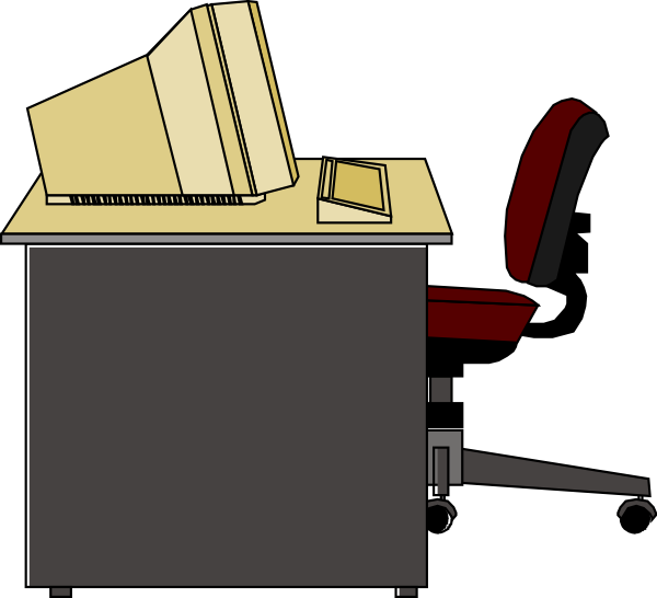 Desk Clipart Black And White Free