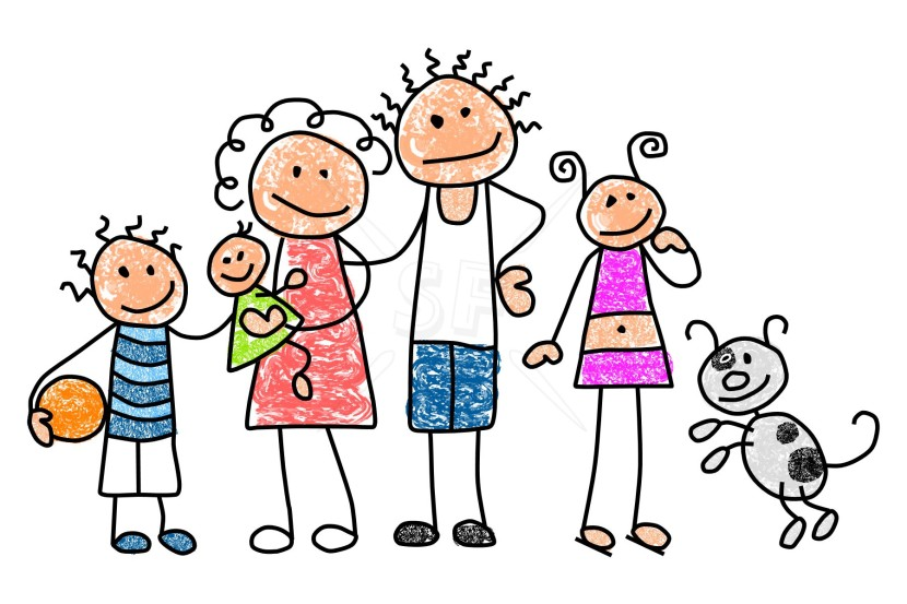 Family Clipart 5 People Stick People Free