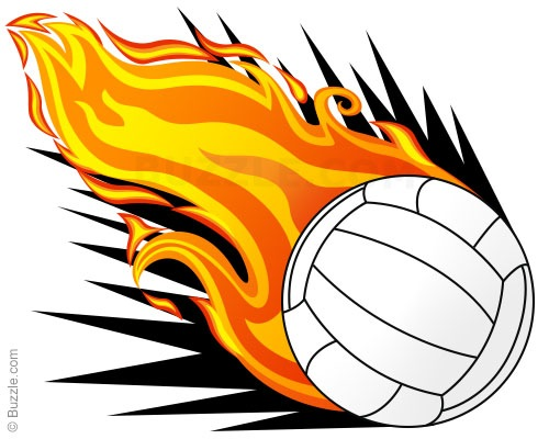 Flaming Volleyball Clipart