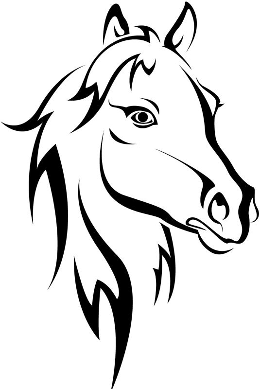 Horse Head Outline Farmyard Animals Wall Sticker Wall Art Decal