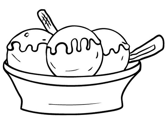 Ice Cream Bowl Coloring Page Kids Coloring Pages