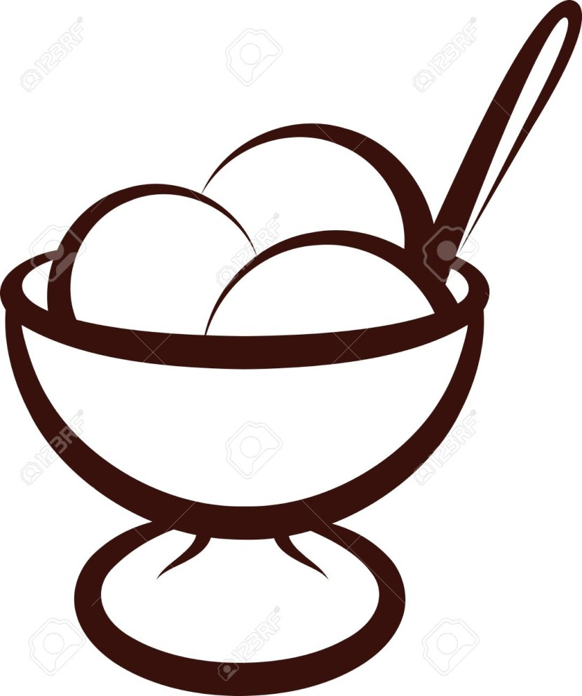 free black and white ice cream sundae clipart - photo #45