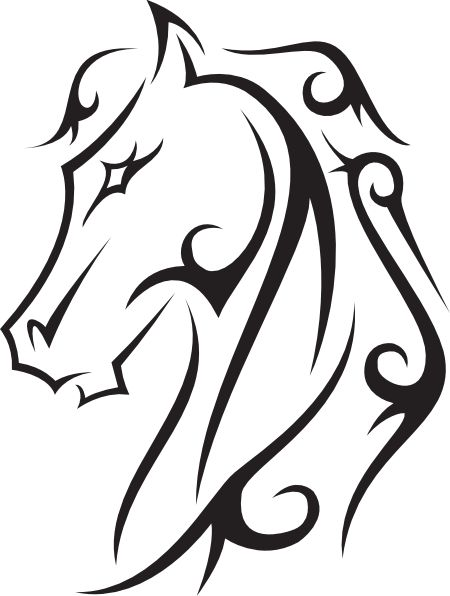 Line Drawings Hoeses Horse Tattoo Vector