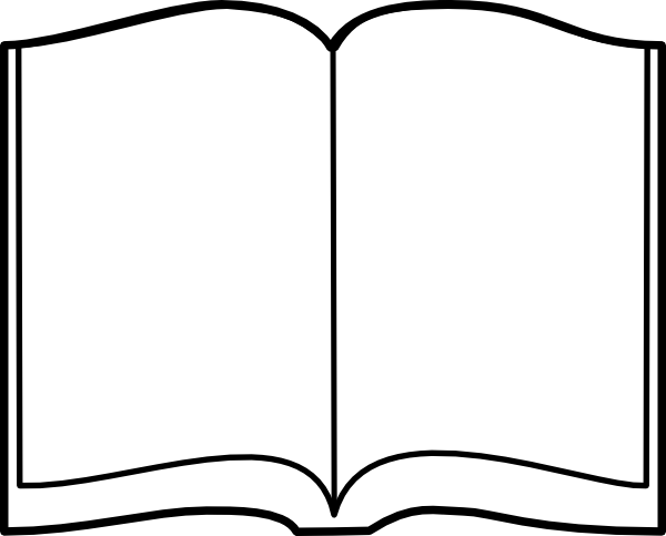 Open Book Black And White Clipart Image