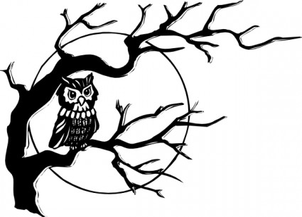 Owl On Tree Branch Free Vector In Open Office Drawing