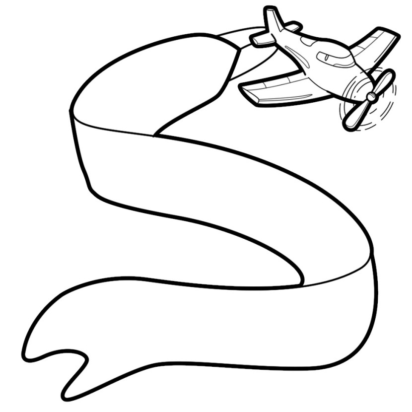 Plane With Banner Clipart