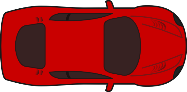 Red Sports Car Top View At Vector