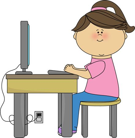 School Girl Using A Computer School