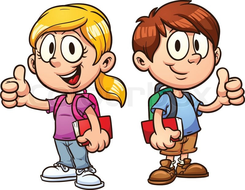 School Kids Vector Illustration With Simple Gradients
