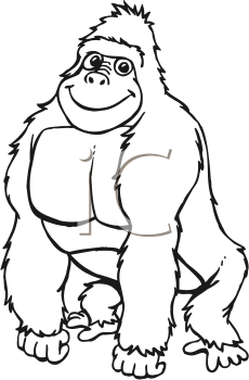 Clipart Black And White Gorilla