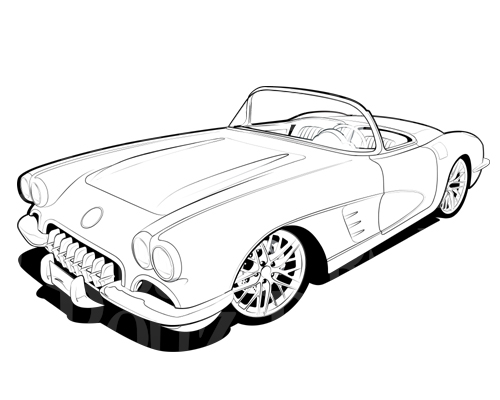 Corvette Clipart Free Black and White