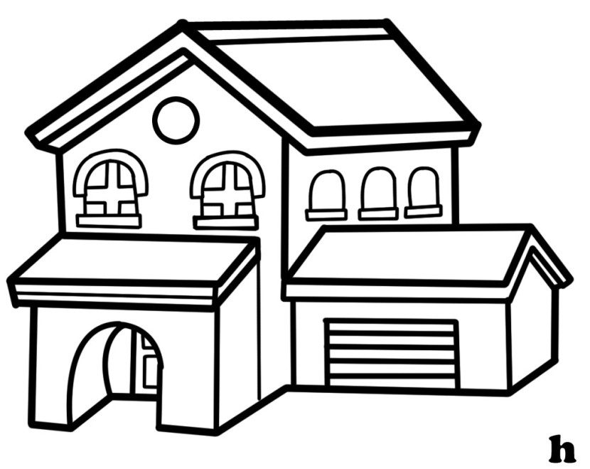 House clipart coloring black white Black and white homes