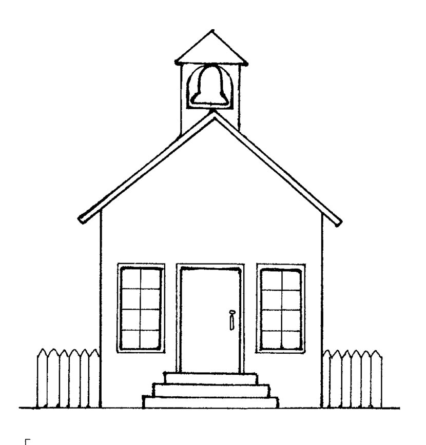 Free Black And White School House Clipart