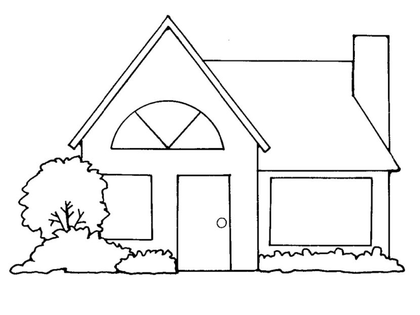 Best House Clipart Coloring Black White #29980 - Clipartion.com