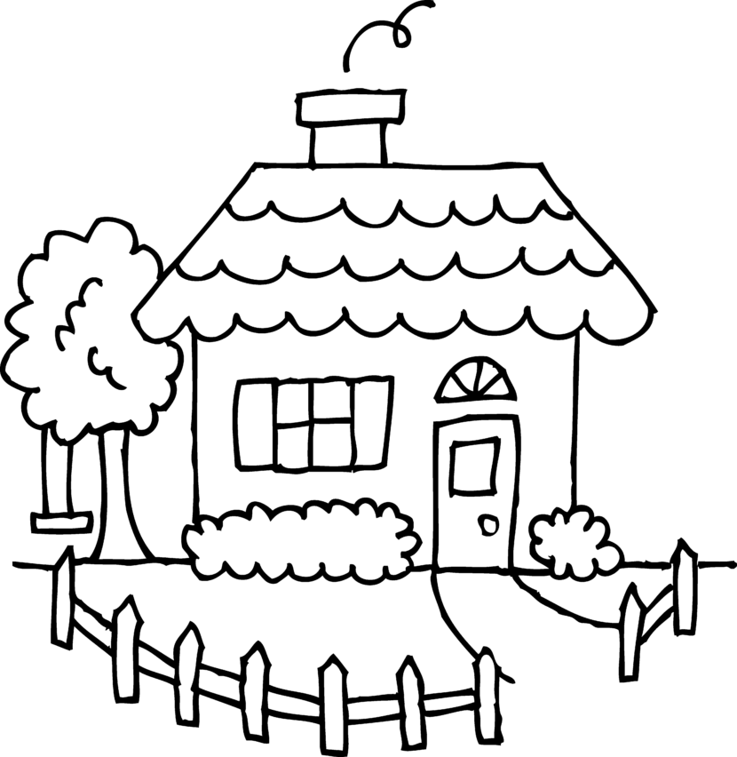 Best house clipart coloring black white 29976 Black and white homes