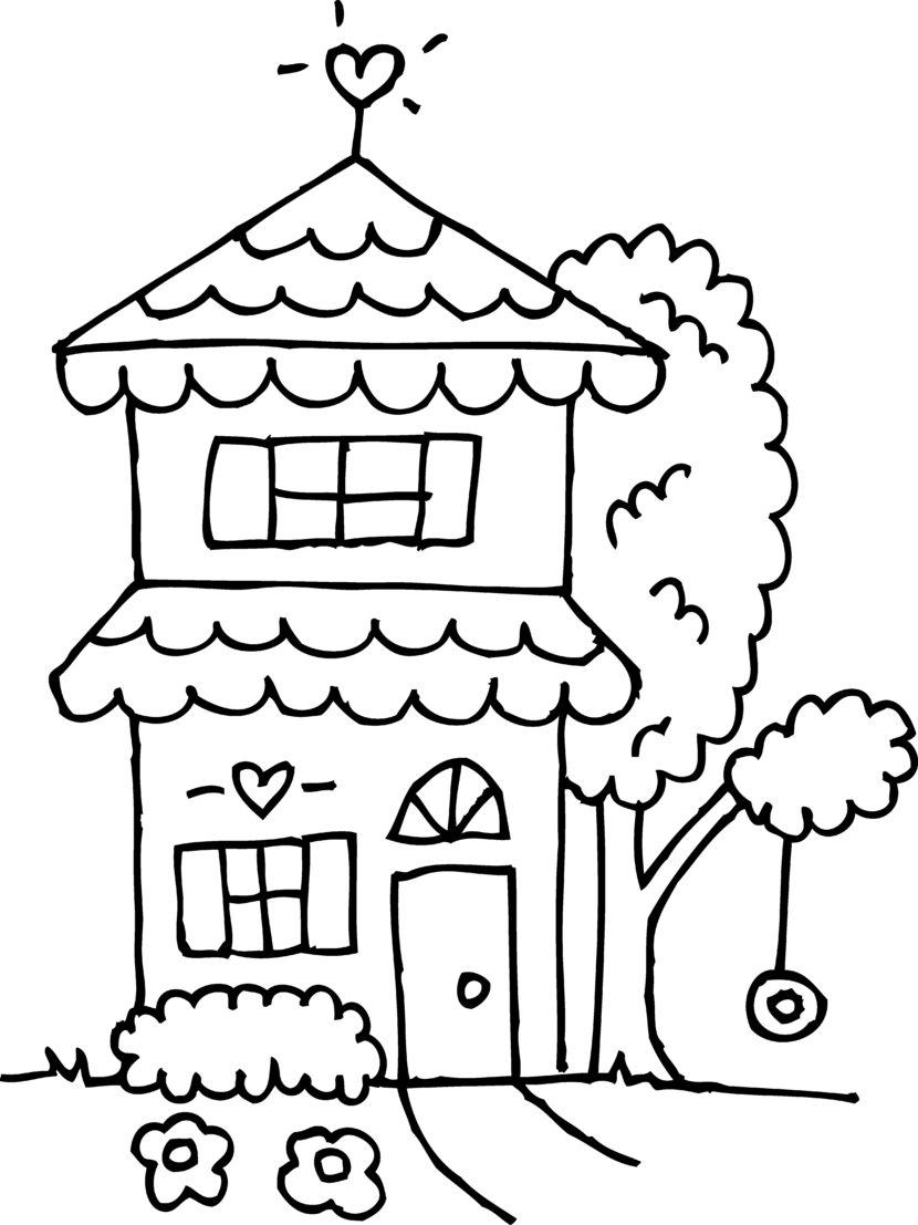 Mansion Drawing: House Clipart Coloring Black White