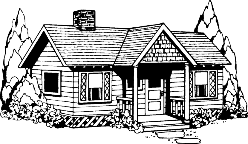 Best house clipart coloring black white 29978 Black and white homes