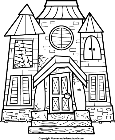 Scary House Scene Black And White Clipart