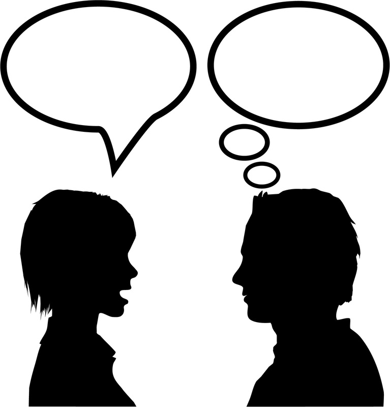 Two People Conversation Think