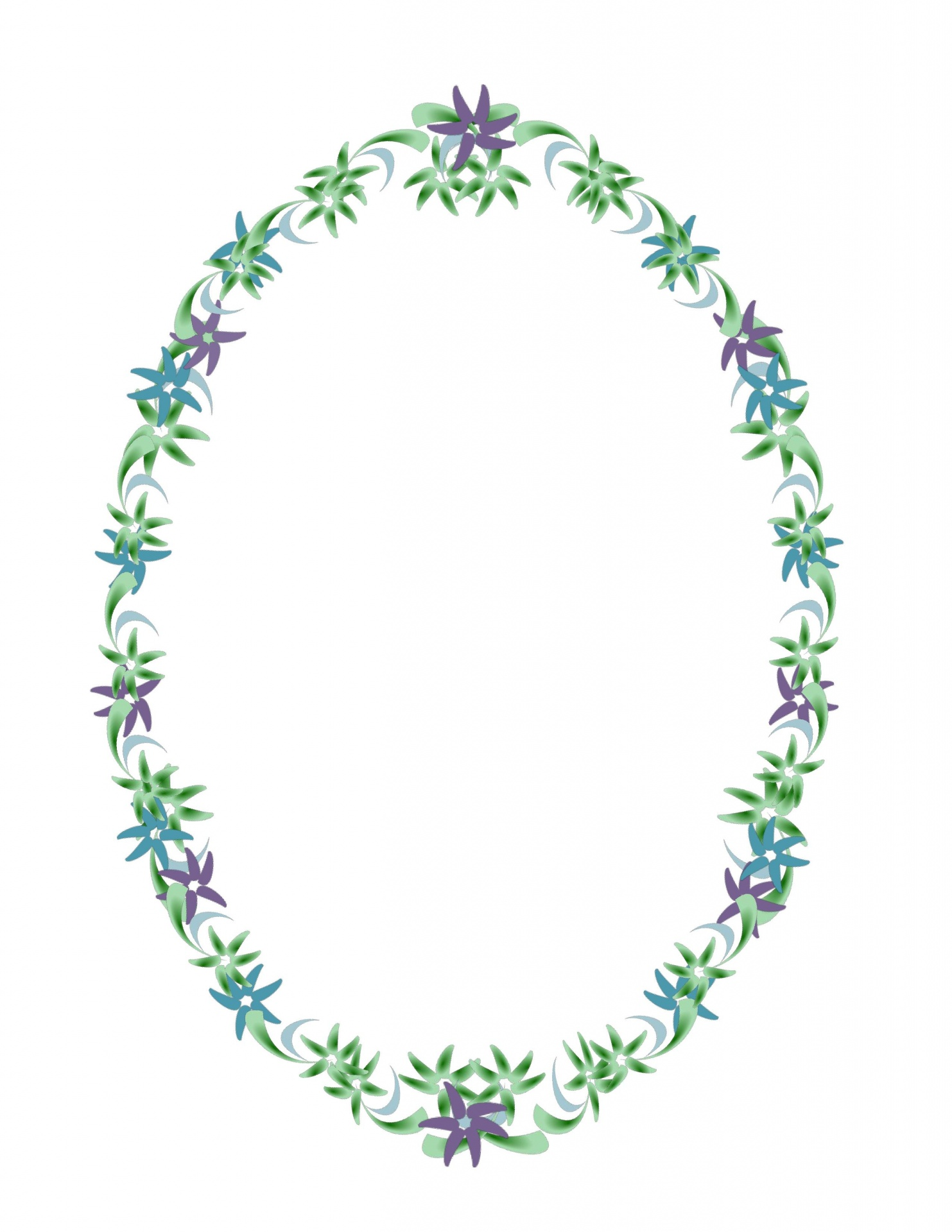 Vintage Oval Flower Border Frame Free